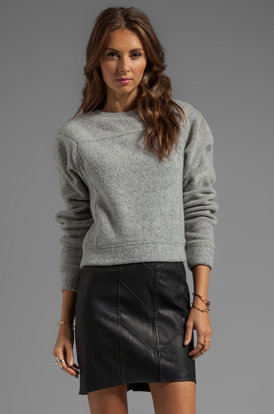 T by Alexander Wang Brushed Wool Sweatshirt Top in Light Heather Grey