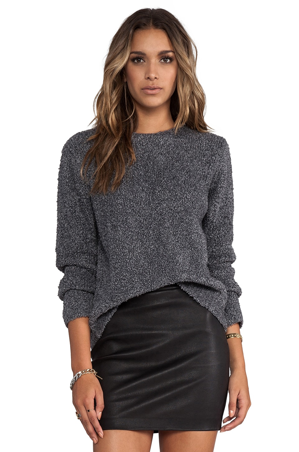 T by Alexander Wang Slub Wool Knit Pullover in Grey