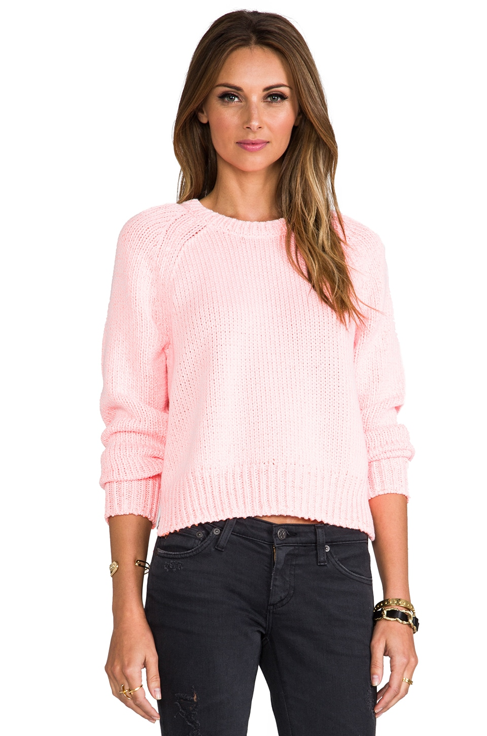 T by Alexander Wang Chainette Crewneck Cropped Pullover in Persimmon