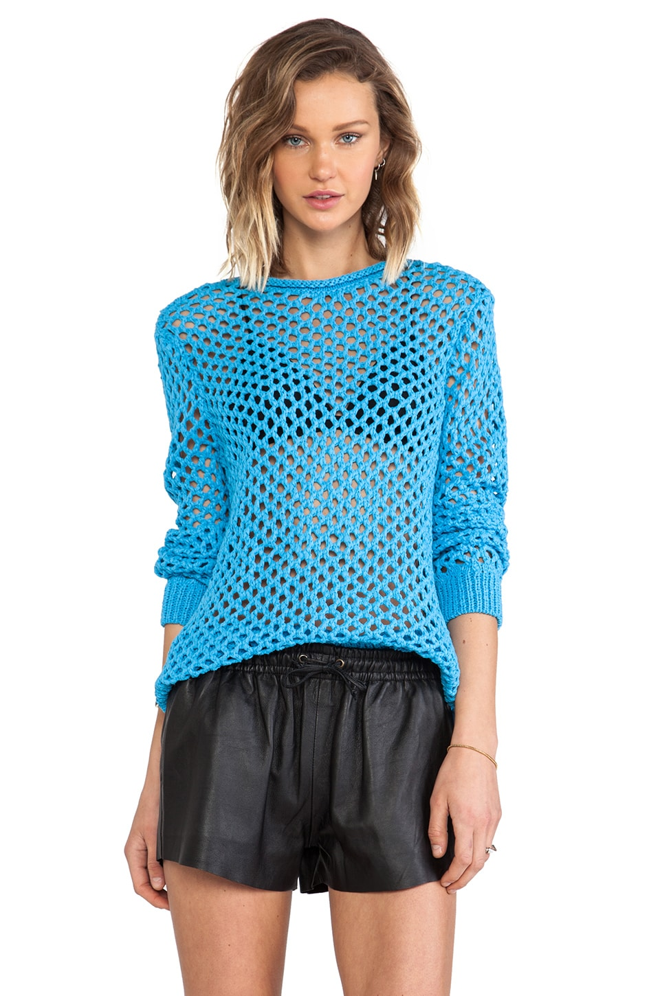 T by Alexander Wang Open Knit Crewneck Pullover in Cerulean