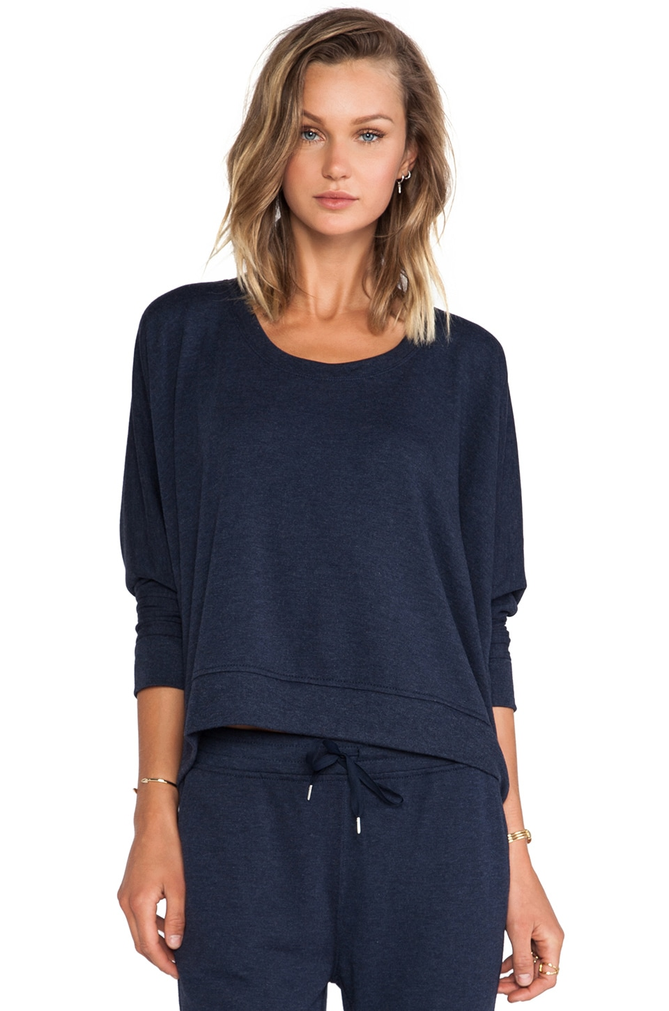 T by Alexander Wang Enzyme Washed French Terry Sweatshirt in Indigo