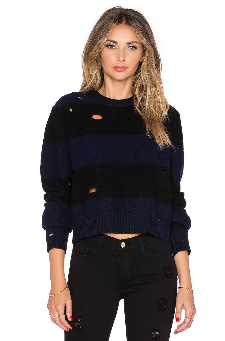 T by Alexander Wang Dropped Needle Cropped Sweater in Midnight