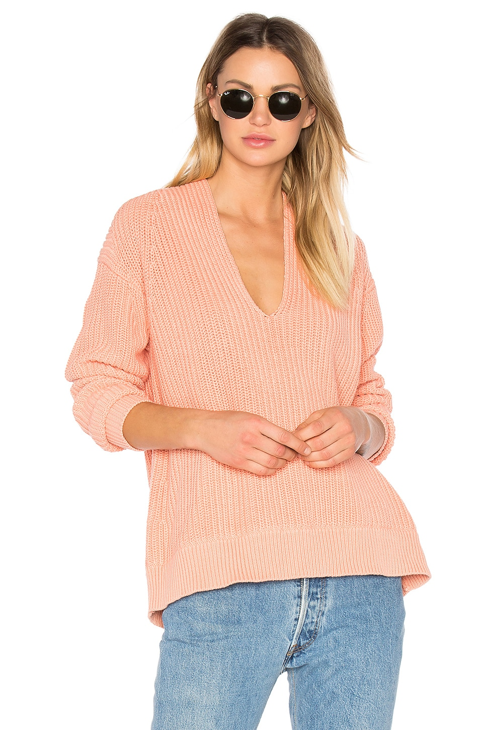 T by Alexander Wang Deep V Neck Pullover in Salmon