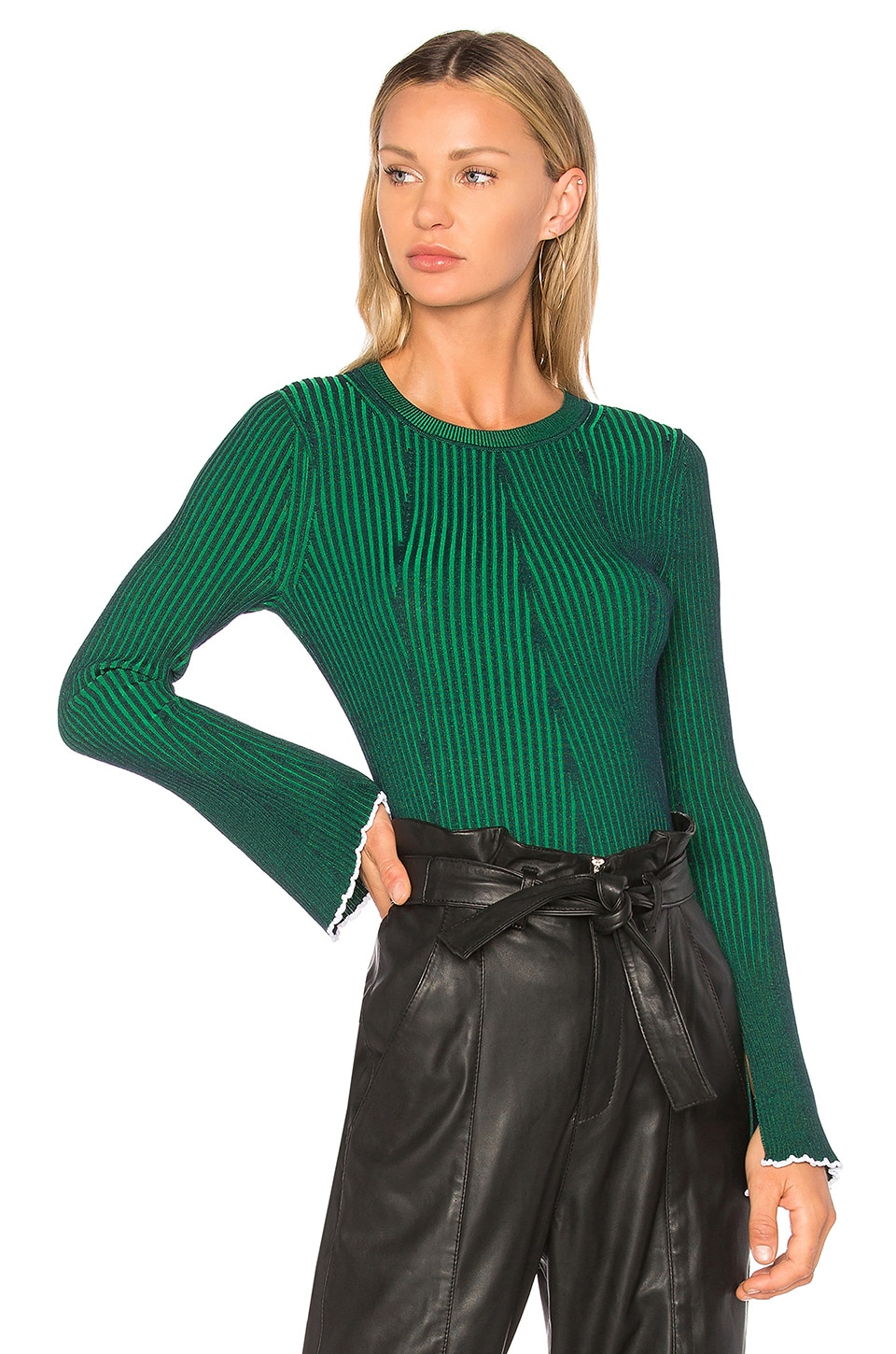T by Alexander Wang Flared Sleeve Sweater in Navy & Emerald Combo