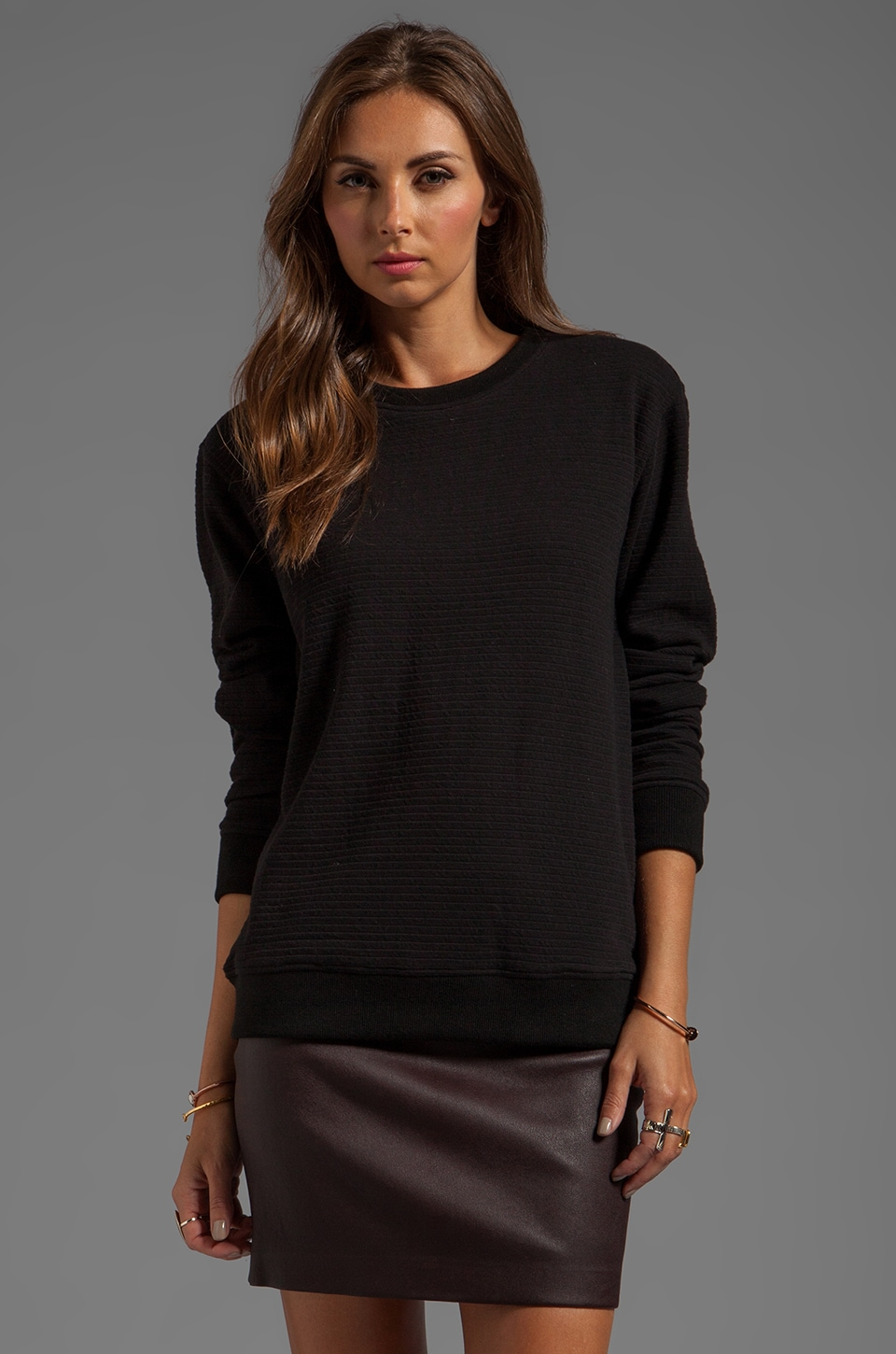 T by Alexander Wang Ottoman Double Knit Sweatshirt in Black