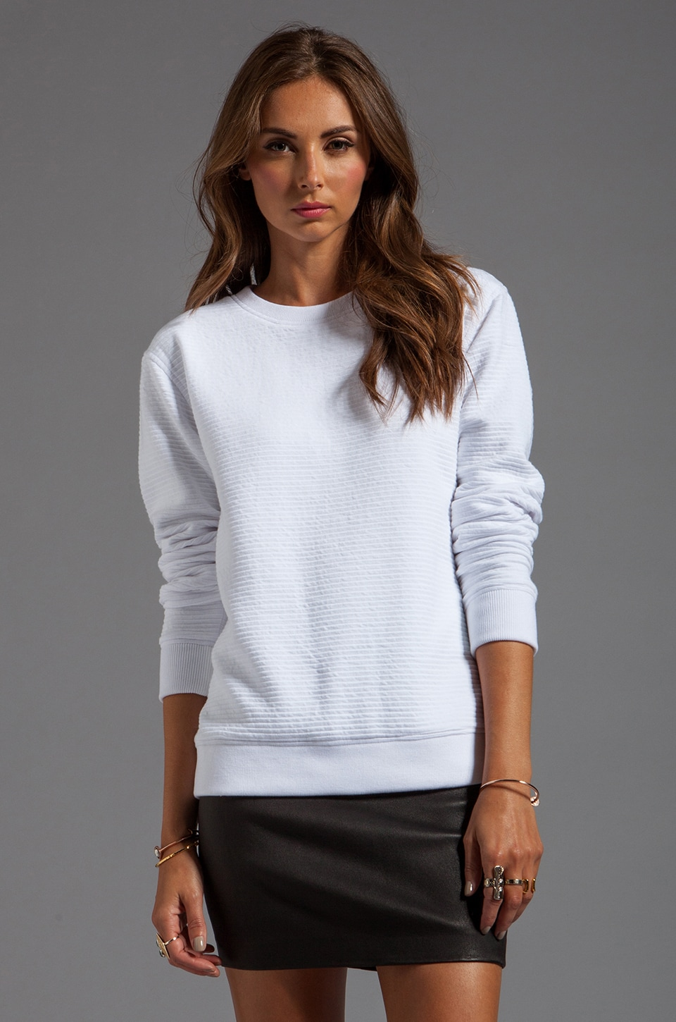 T by Alexander Wang Ottoman Double Knit Sweatshirt in White