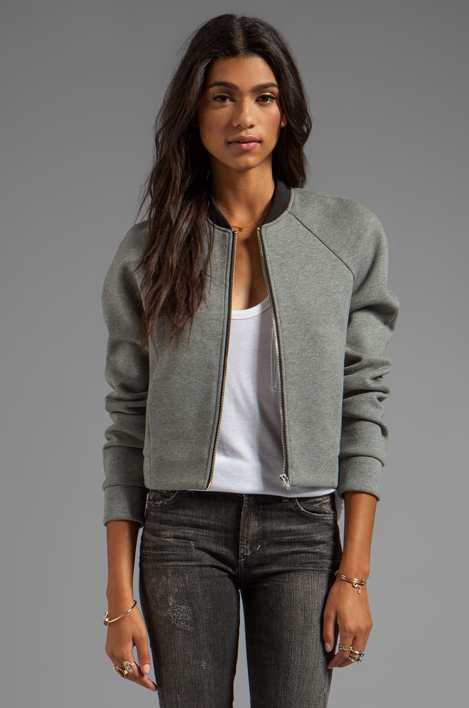 T by Alexander Wang Jersey Bonded Neoprene Bomber Jacket in Heather Grey