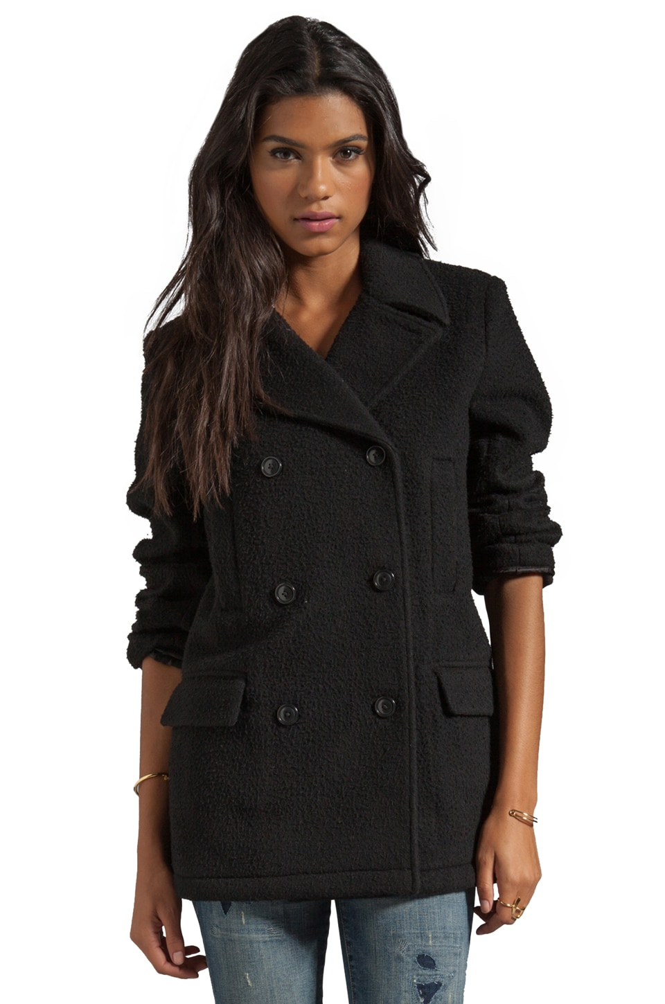 T by Alexander Wang Pilly Wool Felt Peacoat in Black