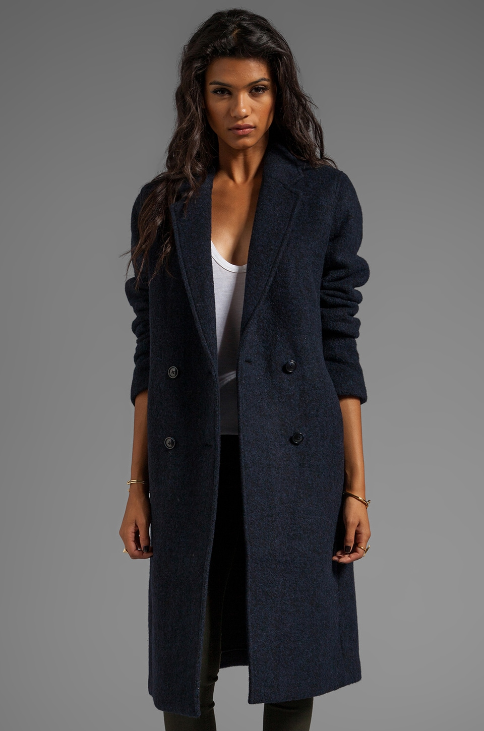 T by Alexander Wang Double Sided Wool Blendcar Coat in Indigo