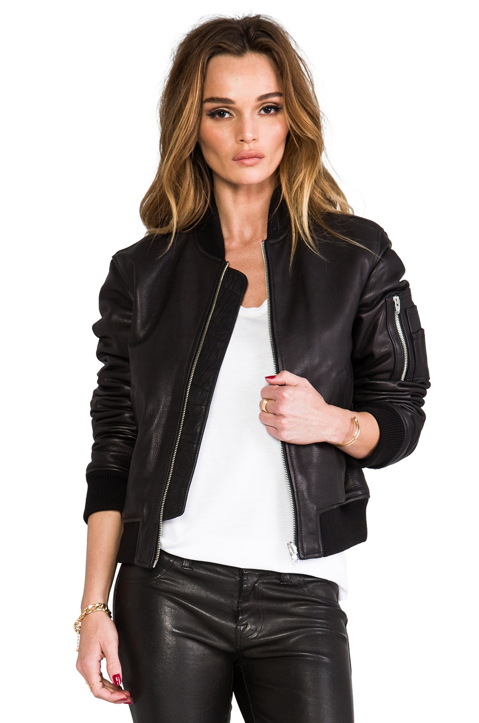T by Alexander Wang Reversible Pebble Leather Bomber Jacket in Black