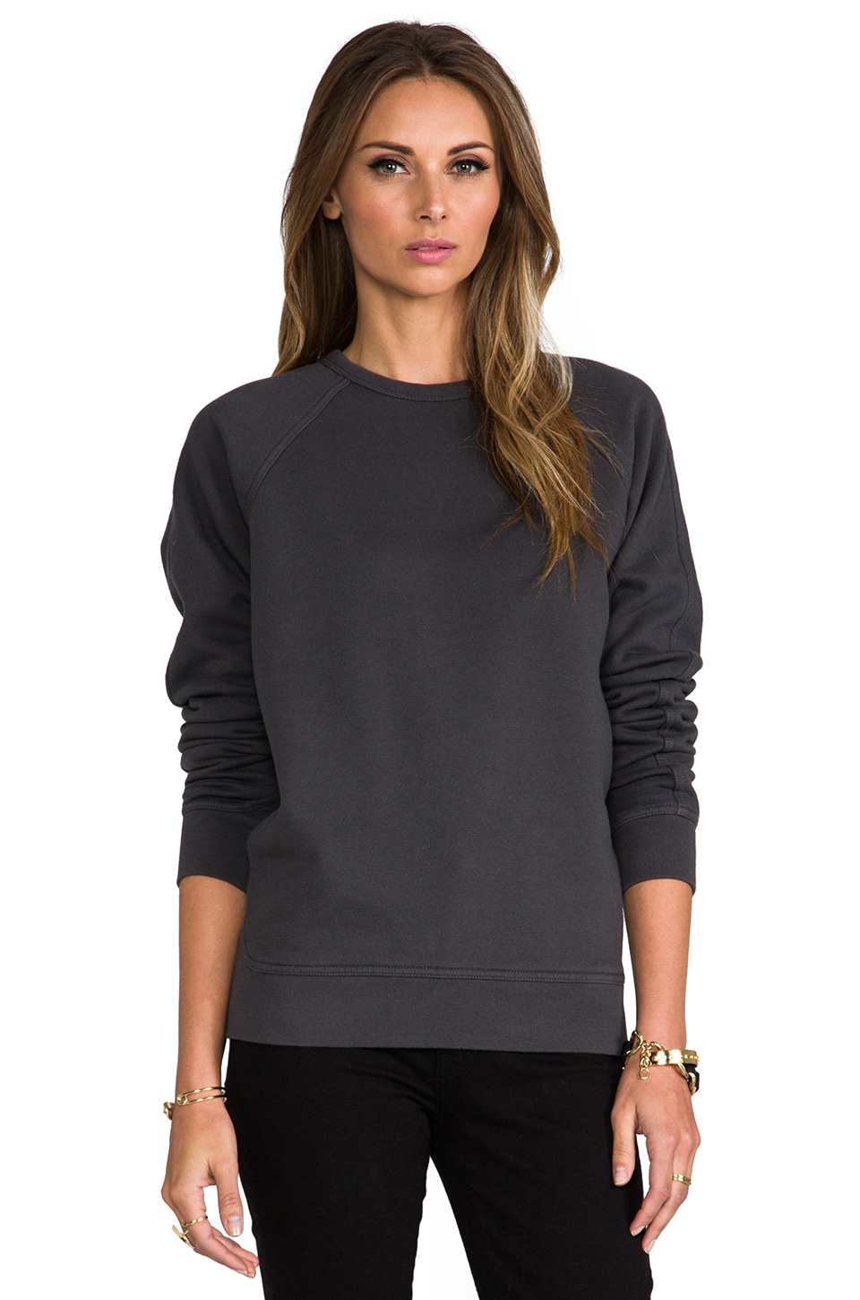 T by Alexander Wang Vintage Fleece Sweatshirt in Charcoal