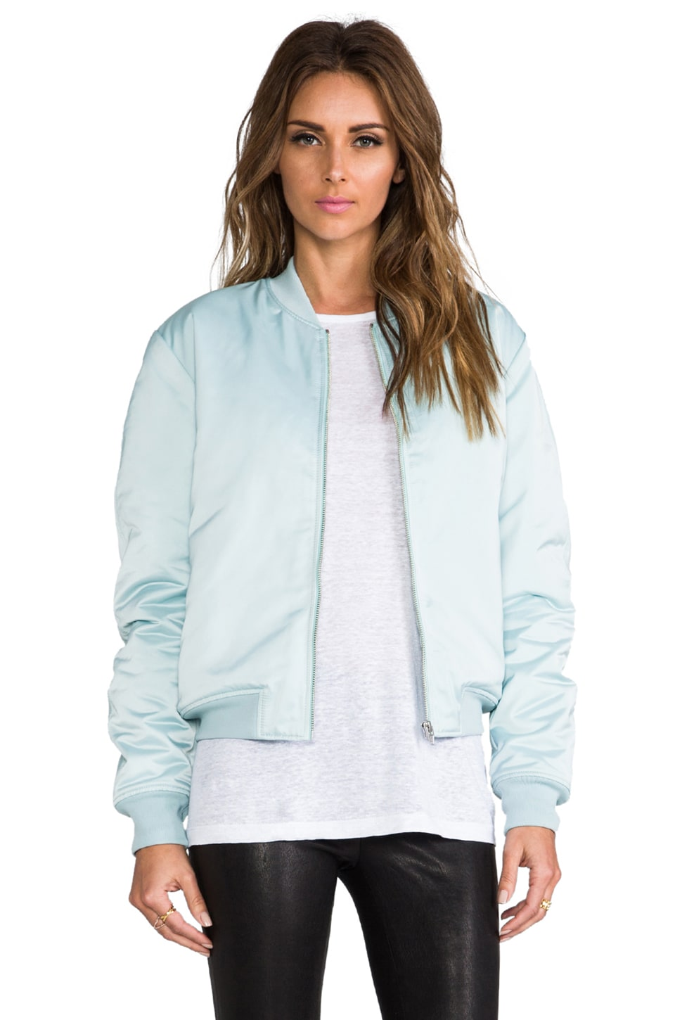 T by Alexander Wang Satin Bomber Jacket in Celadon
