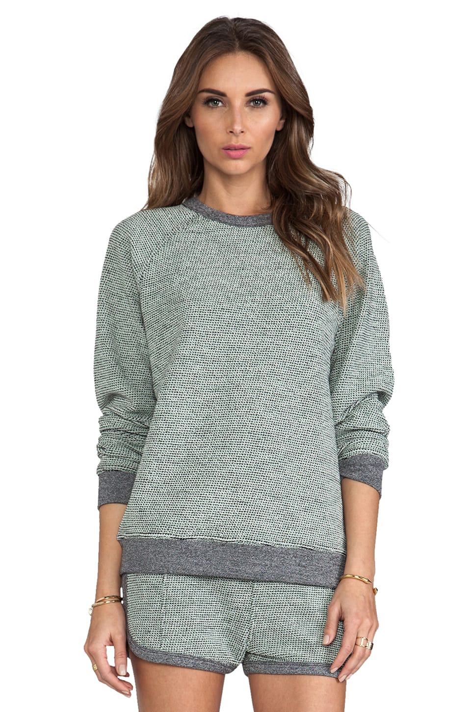 T by Alexander Wang Rainbow French Terry Sweatshirt in Peppermint
