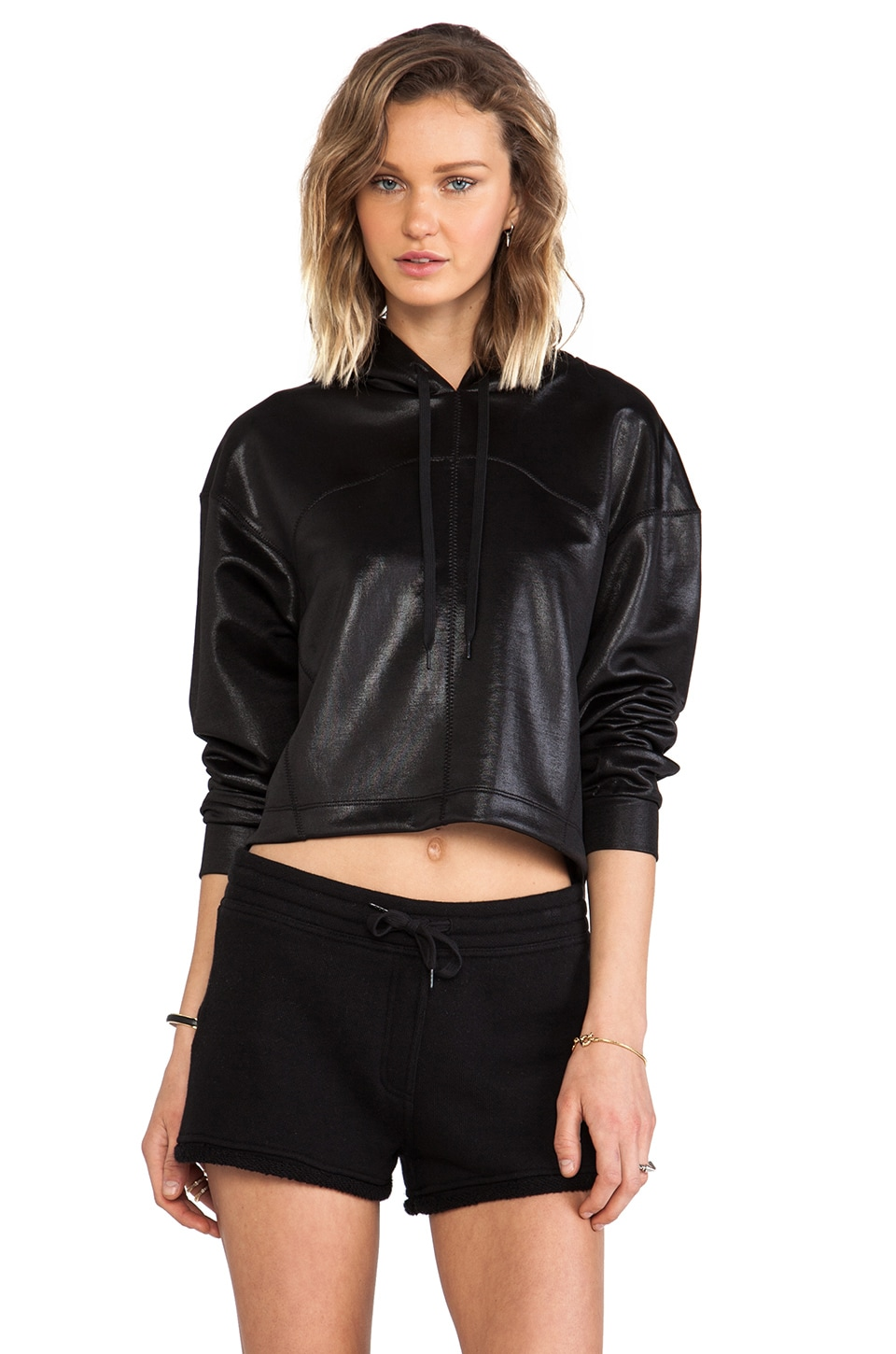 T by Alexander Wang Shiny Boxy Cropped Hoodie in Black