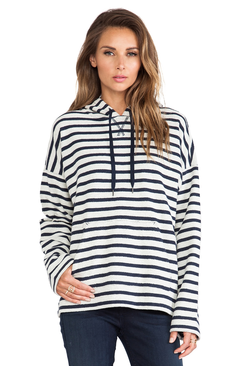 T by Alexander Wang Stripe French Terry Hooded Sweatshirt in Ink/Ivory