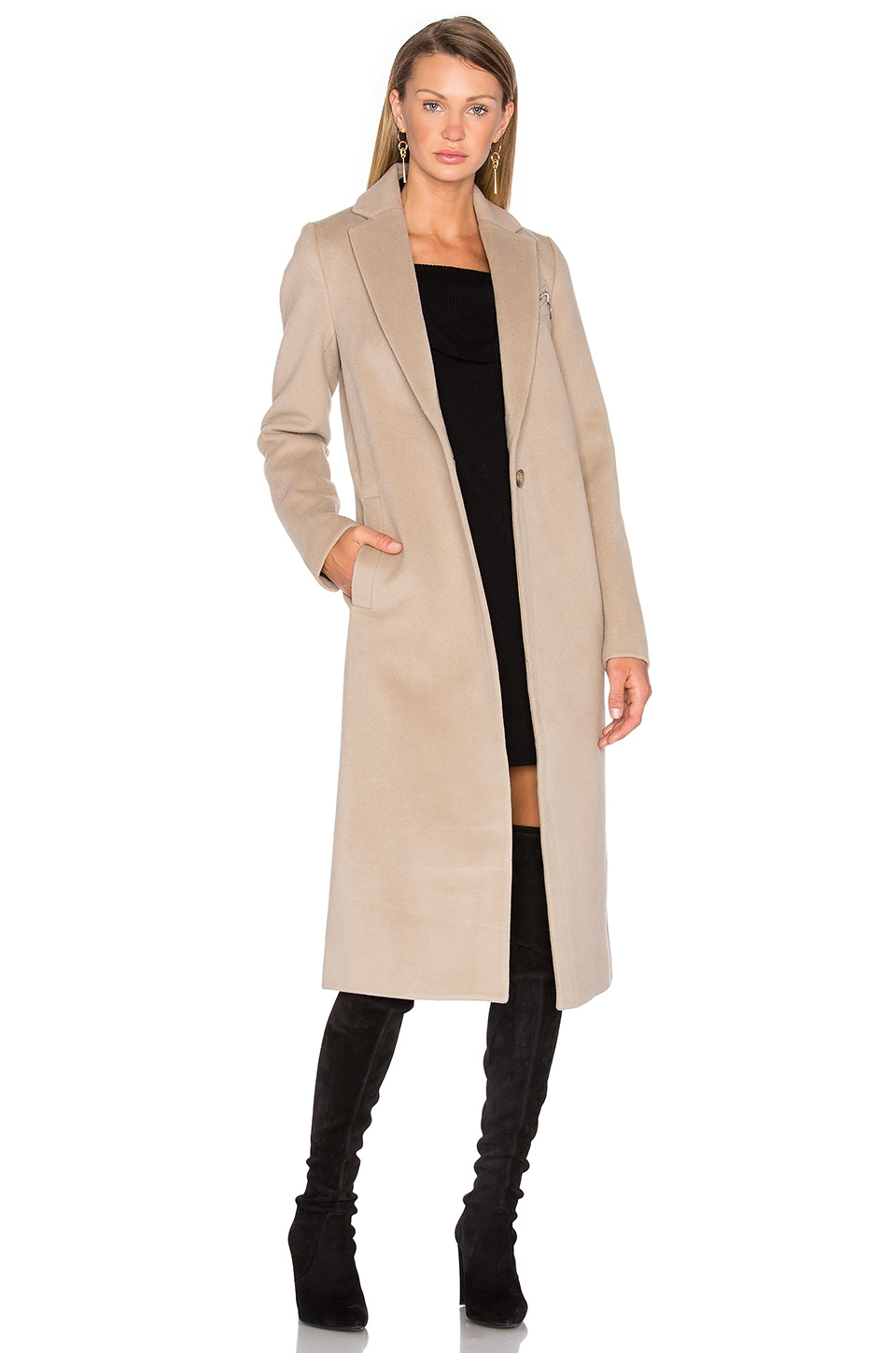T by Alexander Wang Draped Wool Car Coat in Marble