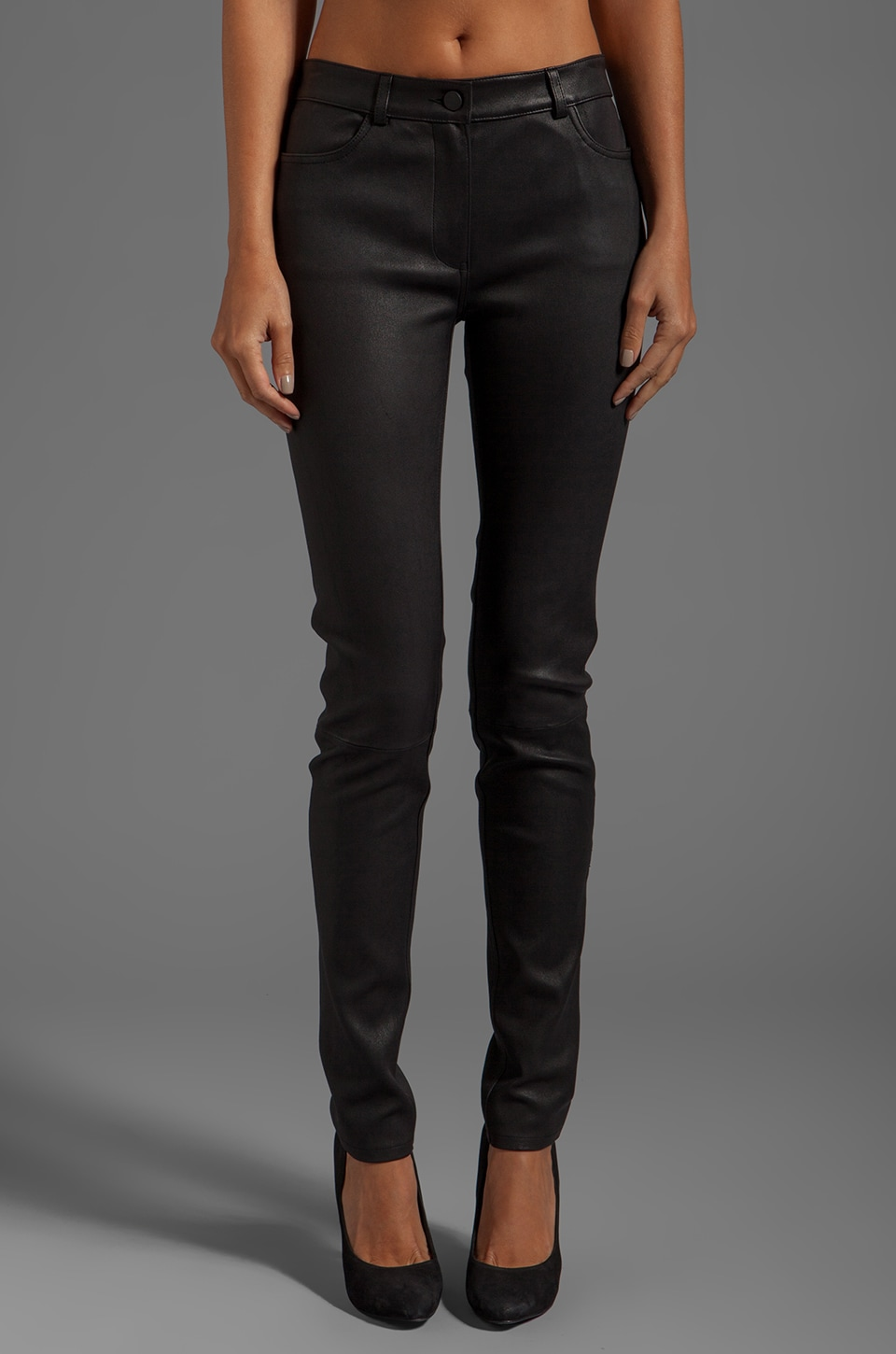 T by Alexander Wang Stretch Leather Jeans in Black