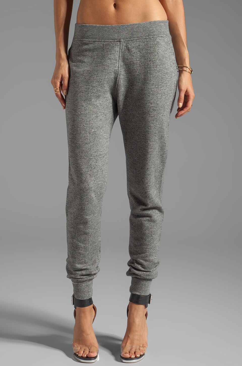 T by Alexander Wang Top Dyed Fleece Sweatpants in Charcoal