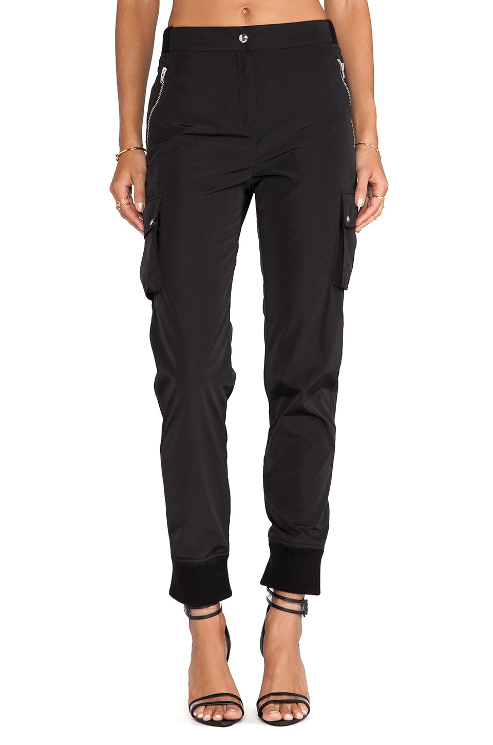 T by Alexander Wang Nylon Track Pants in Black
