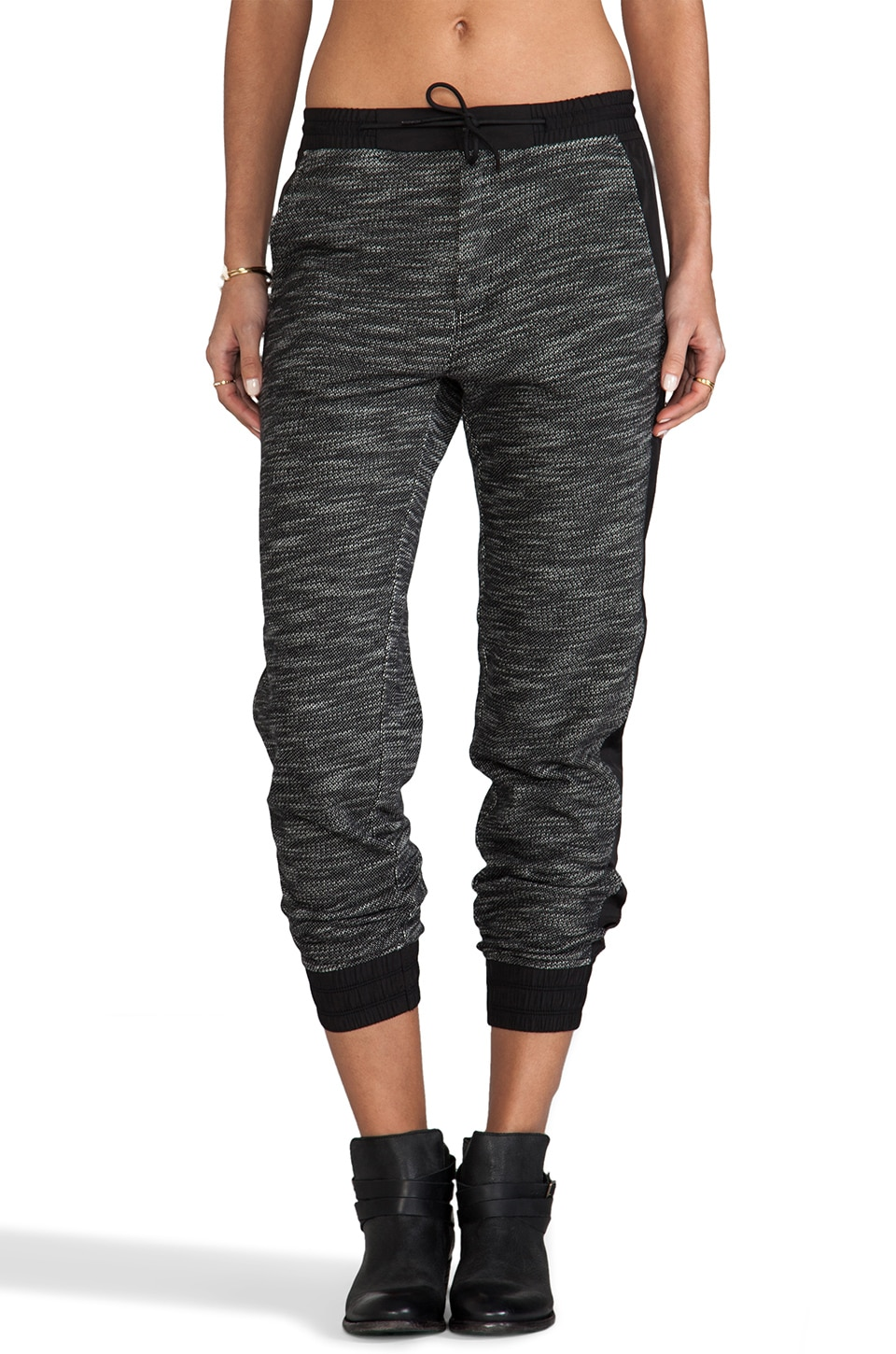 T by Alexander Wang French Terry Track Pants With Matte Nylon Detail in Black & White