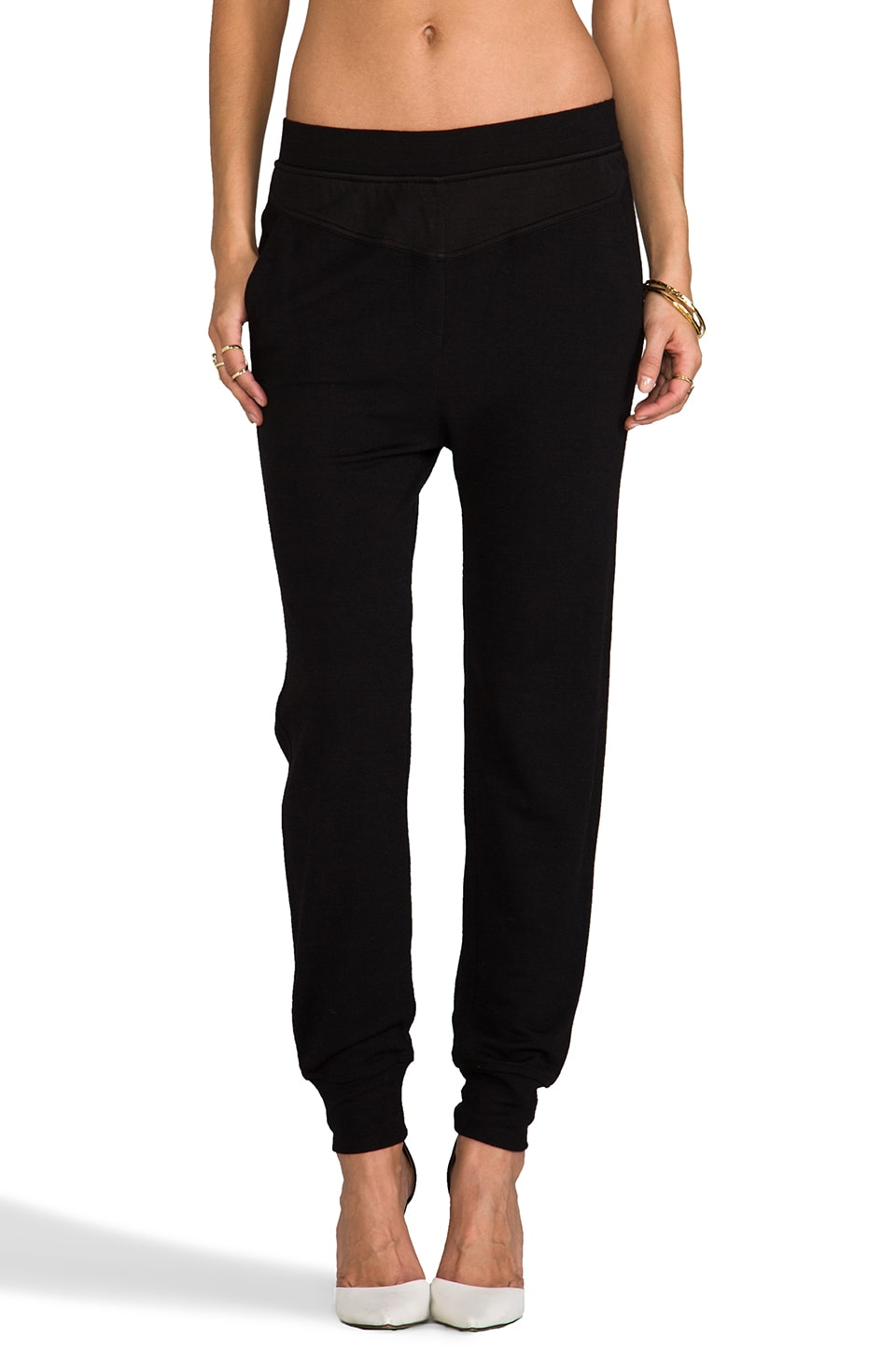 T by Alexander Wang Long John Sweatpants in Black