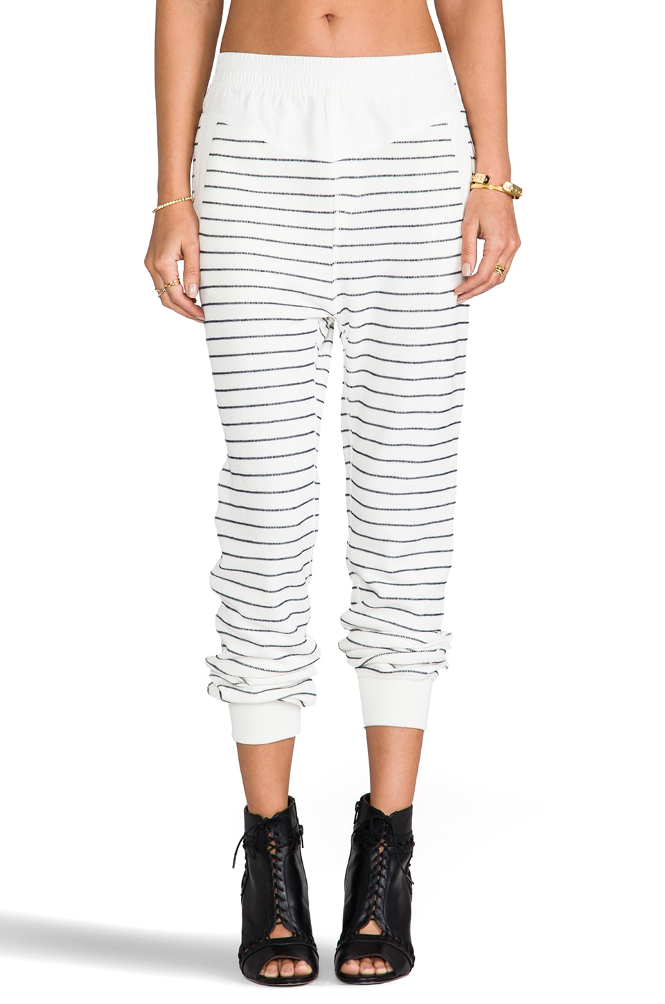 T by Alexander Wang French Rib Long John Sweatpants in Ivory & Onyx