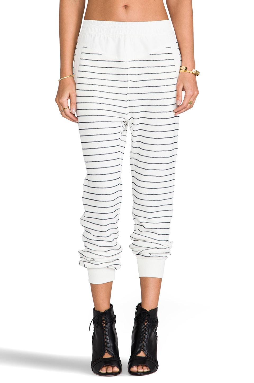 T by Alexander Wang French Rib Long John Sweatpants in Ivory & Onyx