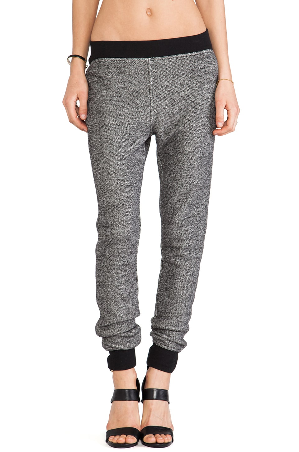 T by Alexander Wang Robust French Terry Sweatpants in Black & Bone