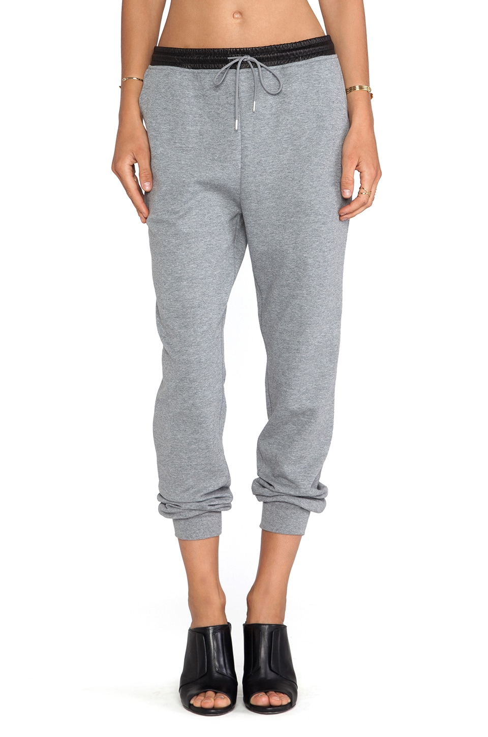 T by Alexander Wang Leather Waistband Sweatpants in Heather Grey
