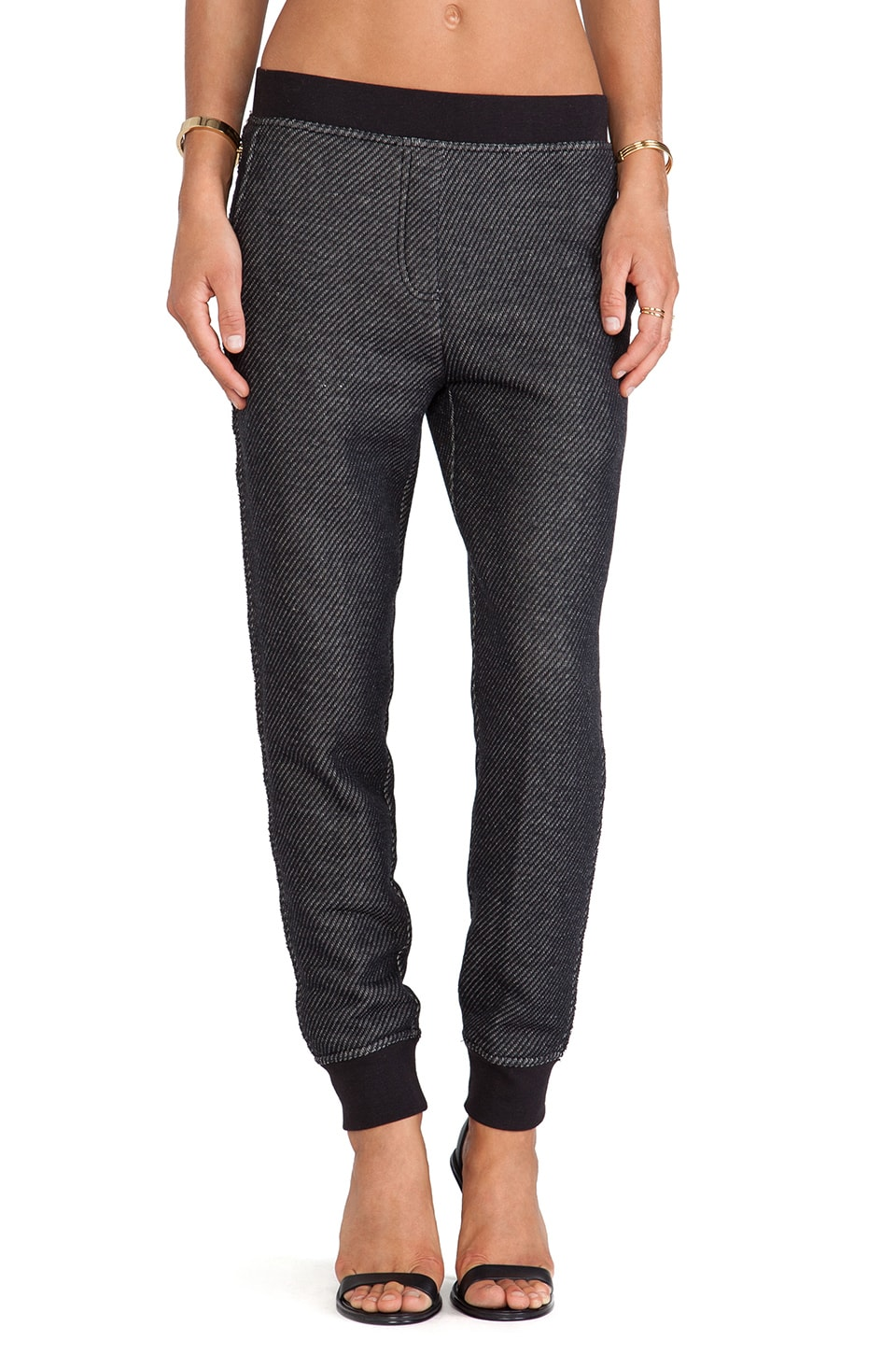 T by Alexander Wang Sweatpant in Black/Bone