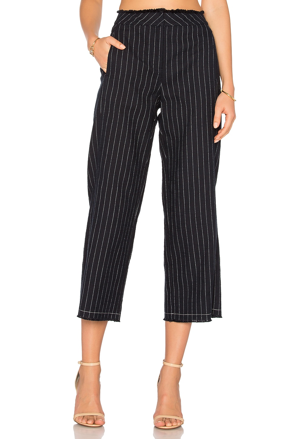 T by Alexander Wang Edge Wide Leg Pant in Navy & White Stripe