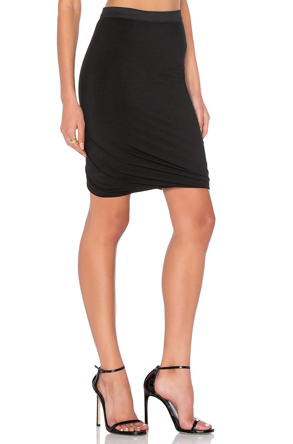 T by Alexander Wang Marled Drape Jersey Skirt in Black