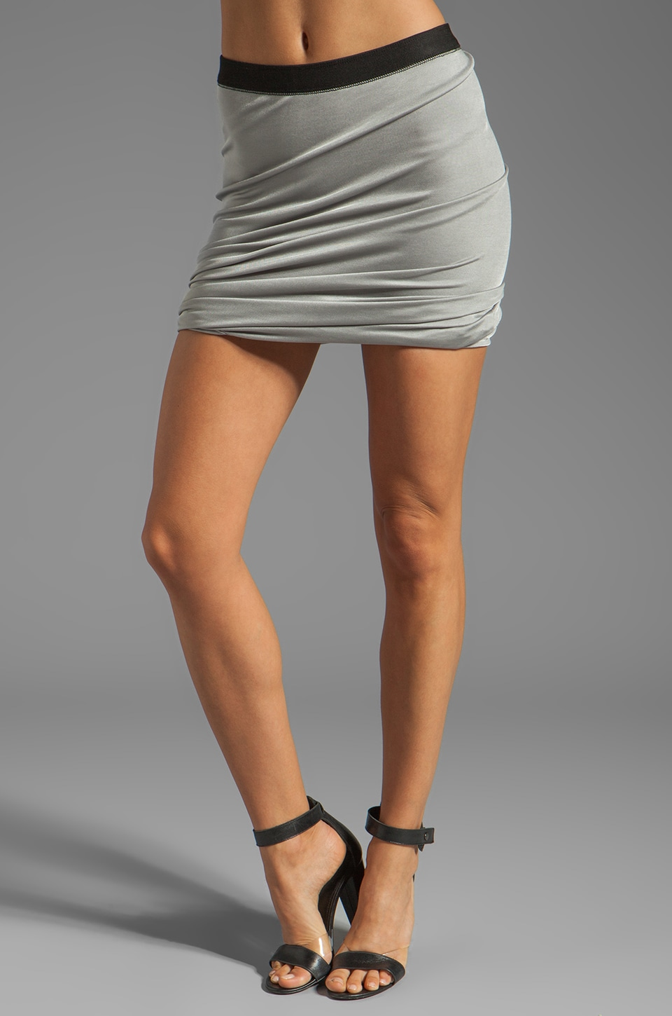 T by Alexander Wang Pique Shiny Knit Twist Skirt in Concrete