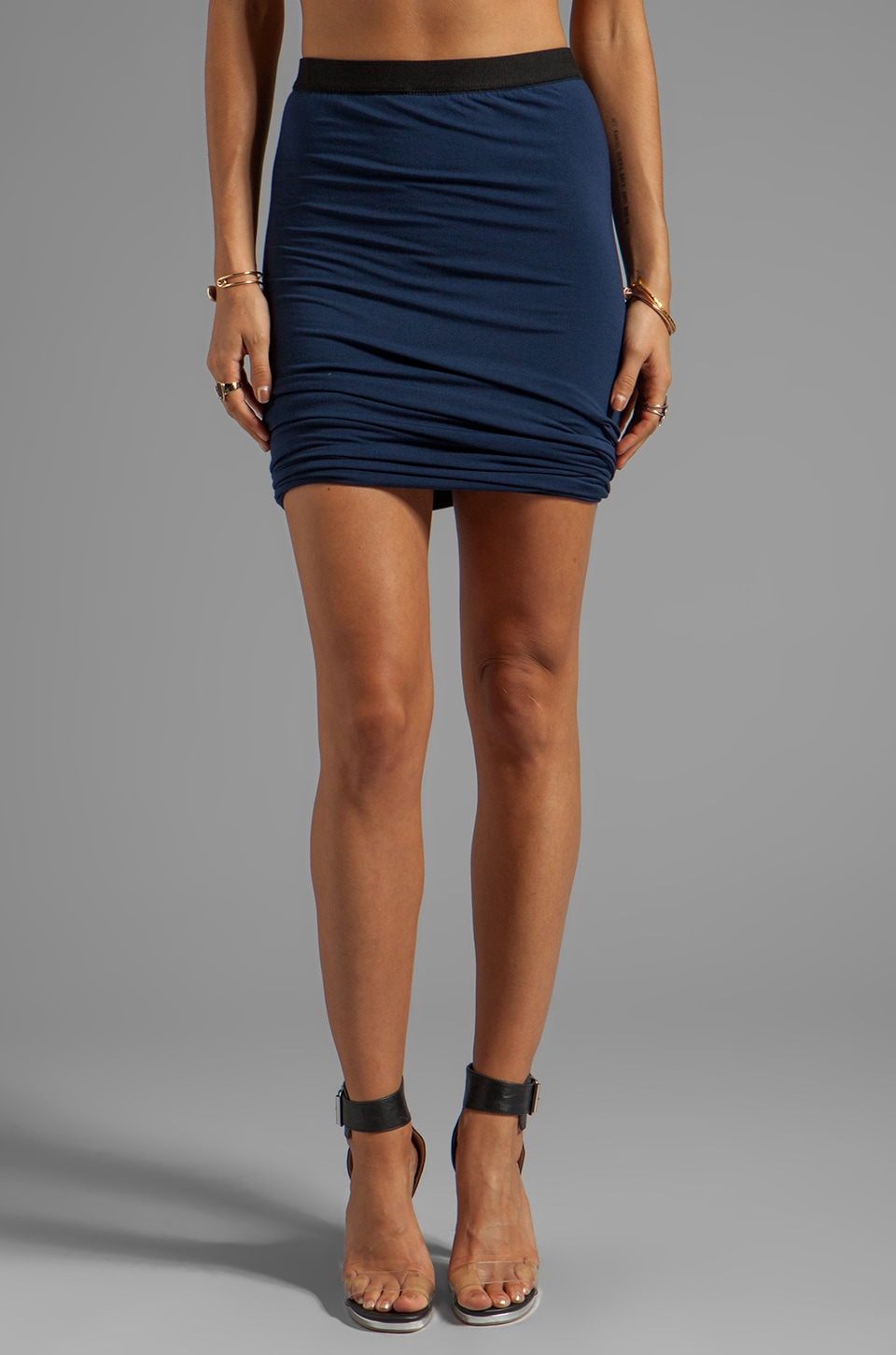 T by Alexander Wang Modal Spandex Double Twist Skirt in Indigo