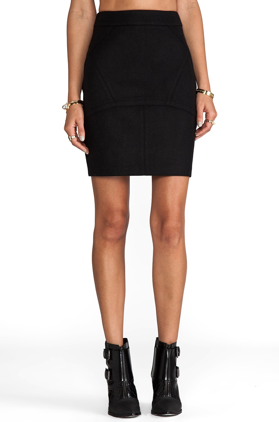 T by Alexander Wang Wool Neoprene Back Flutter Skirt in Black