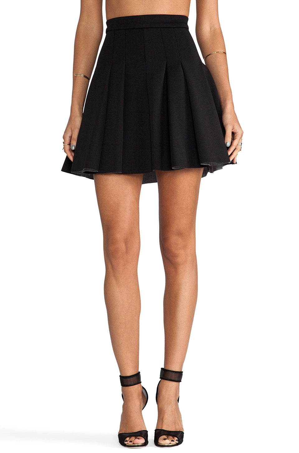 T by Alexander Wang Jersey Bonded Neoprene Box Pleat Skirt in Black