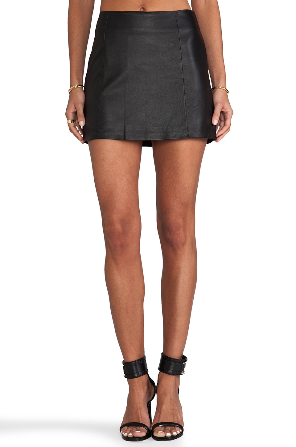 T by Alexander Wang Lightweight Leather A-Line Skirt in Black