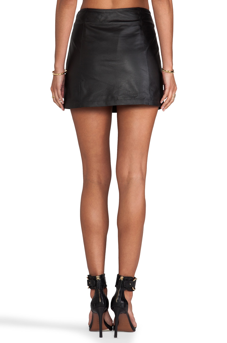 T by Alexander Wang Lightweight Leather A-Line Skirt in Black ...