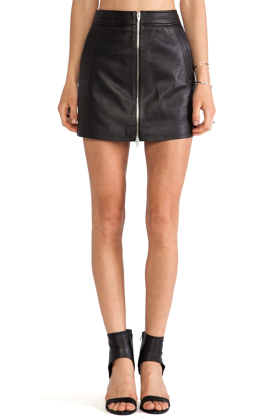 T by Alexander Wang Lamb Leather 2 Way Zip Skirt in Black