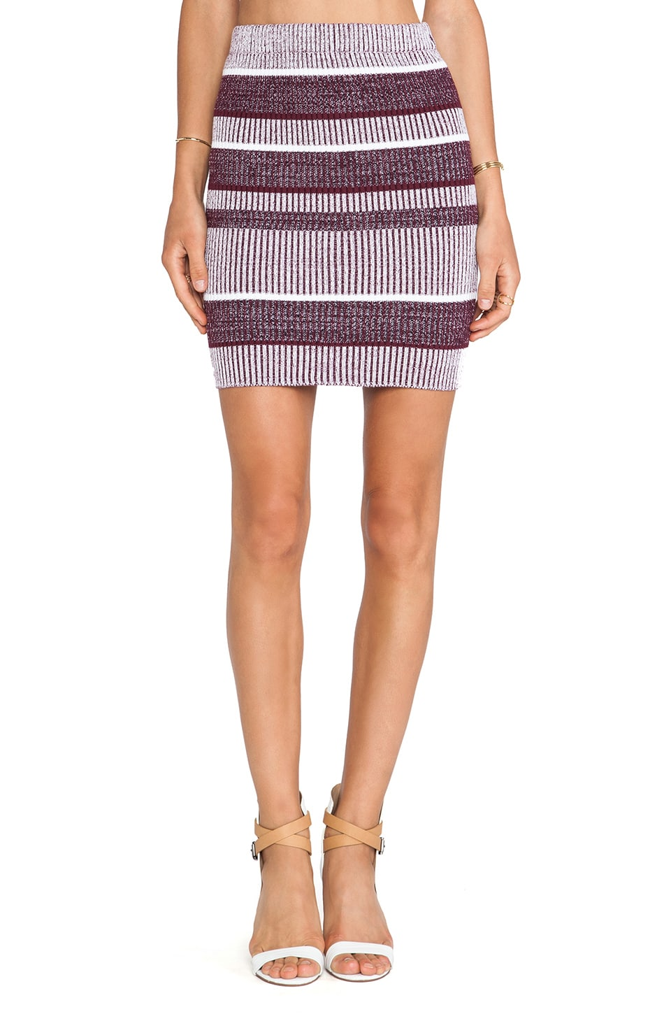 T by Alexander Wang Rib Knit Pencil Skirt in Bordeaux