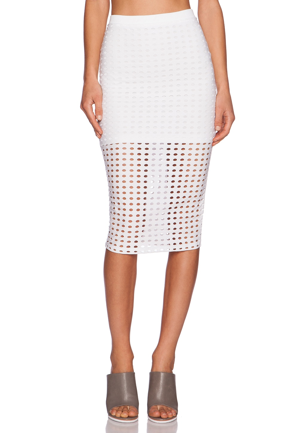 T by Alexander Wang Circular Hole Skirt in White