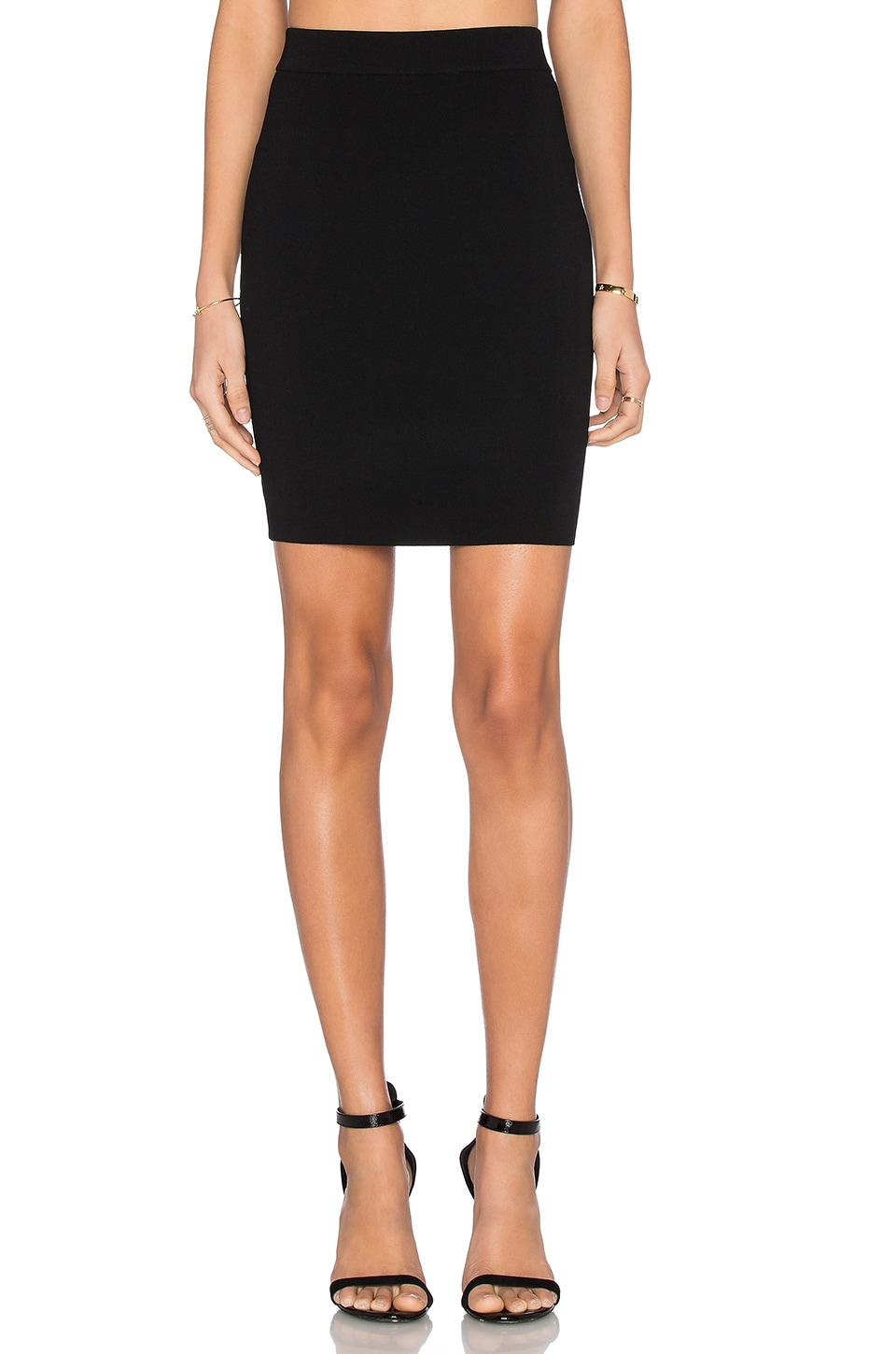 T by Alexander Wang Full Needle Knit Pencil Skirt in Black