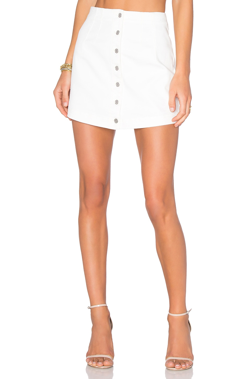 T by Alexander Wang Jean Skirt in Ivory