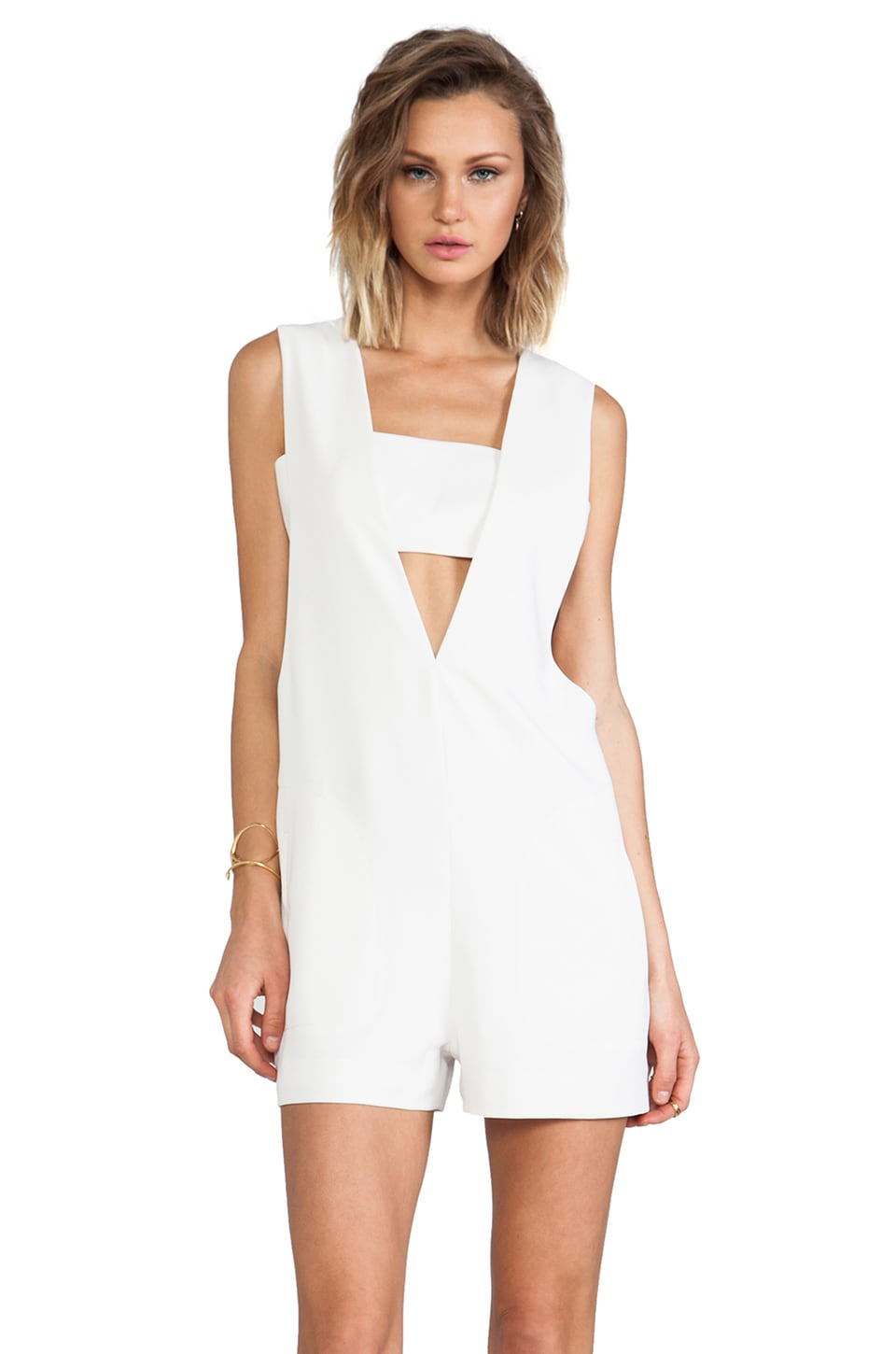 T by Alexander Wang Low V Romper in Ivory