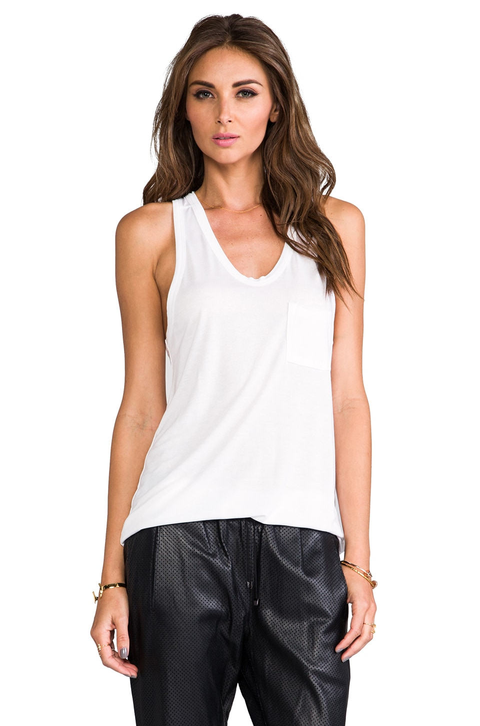 T by Alexander Wang Classic Tank with Pocket in White