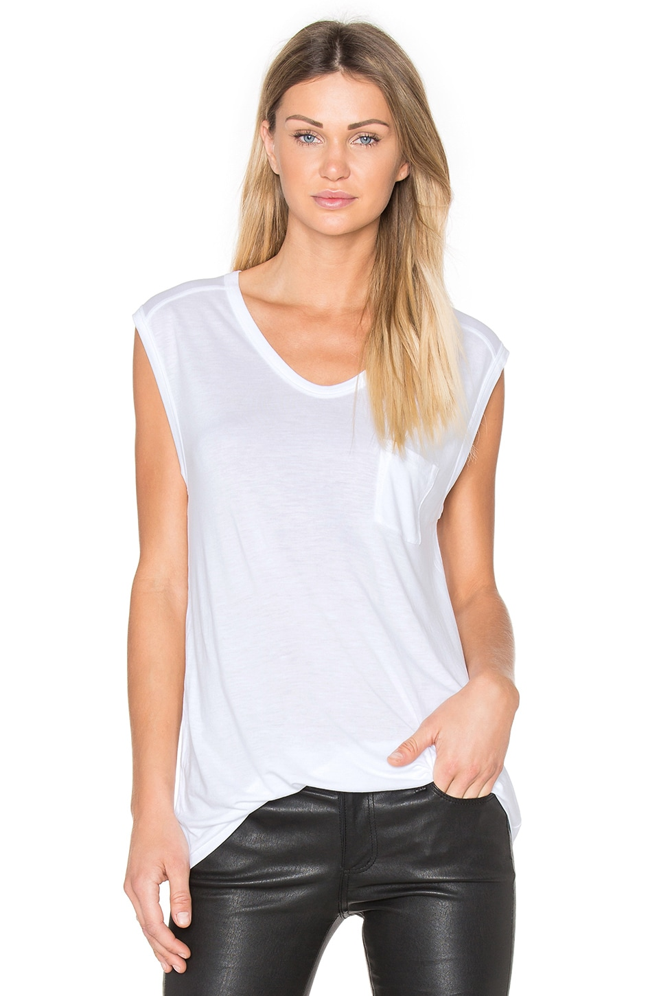 T by Alexander Wang Muscle T with Pocket in White