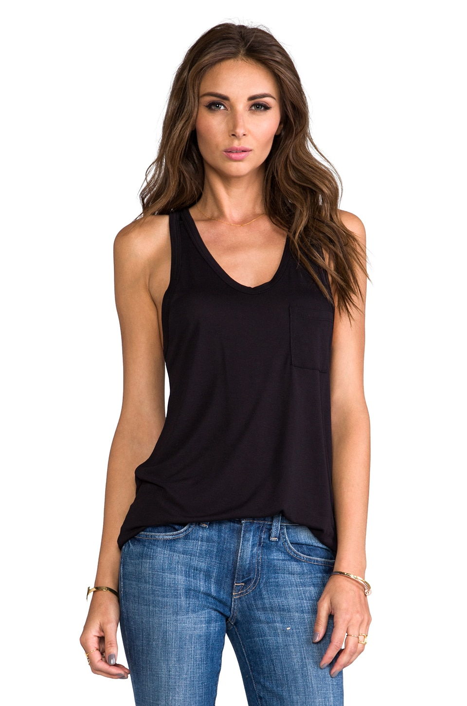 T by Alexander Wang Classic Pocket Tank in Black
