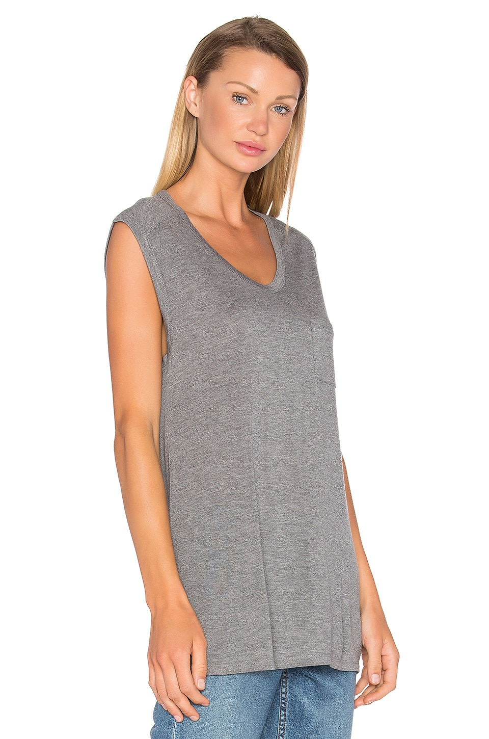 T by Alexander Wang Classic Muscle T in Heather Grey