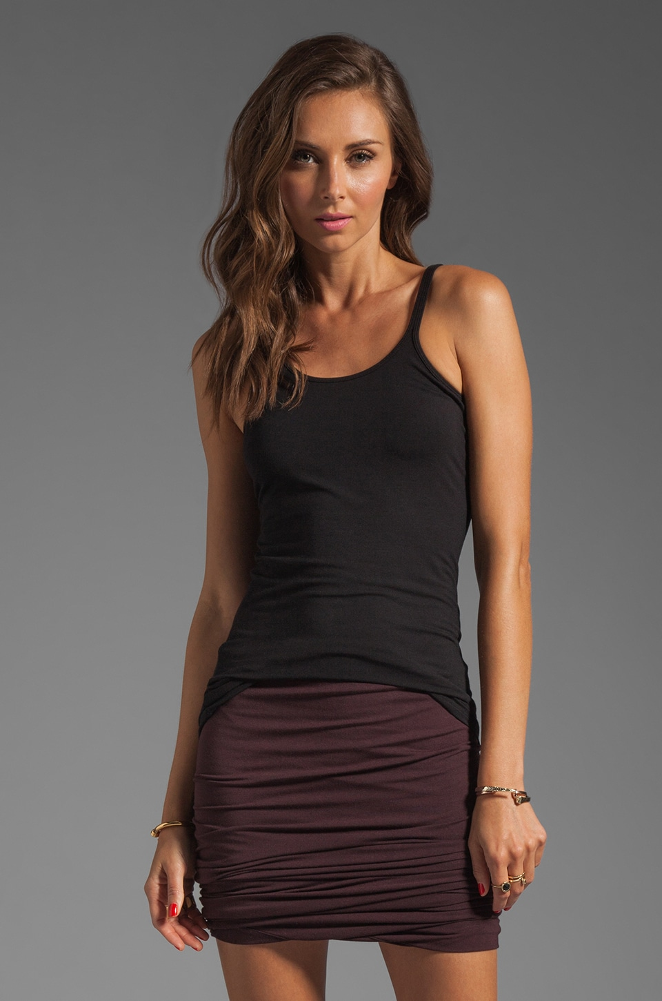 T by Alexander Wang Modal Spandex Cami Layering Tank in Black