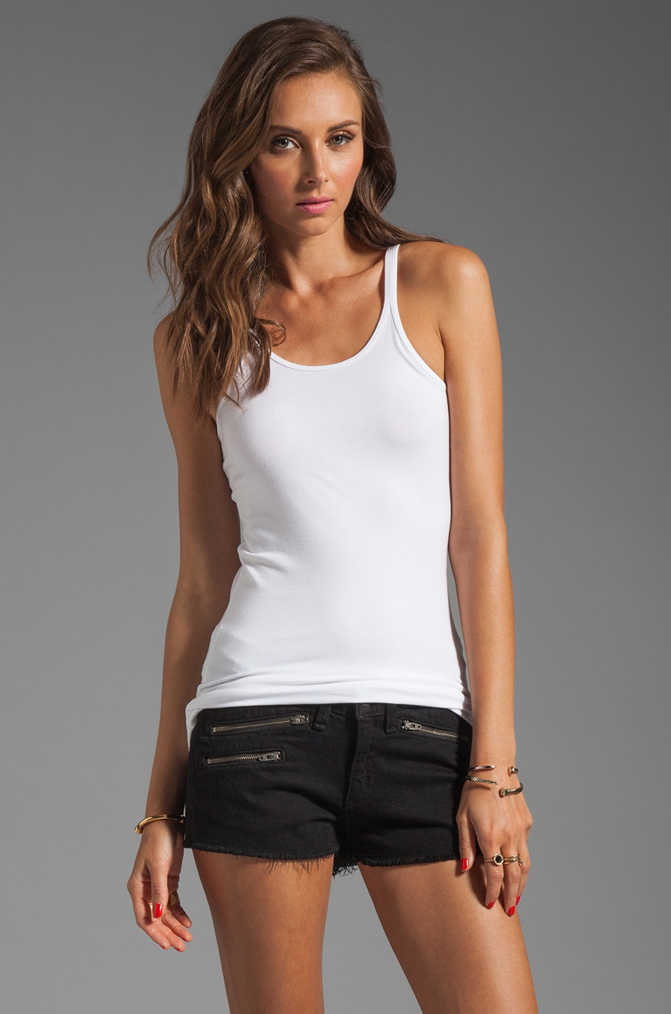 T by Alexander Wang Modal Spandex Cami Layering Tank in White